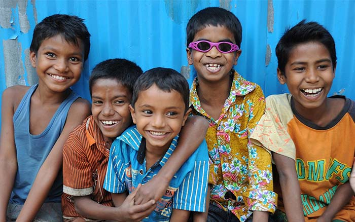 visually impaired kids smiling